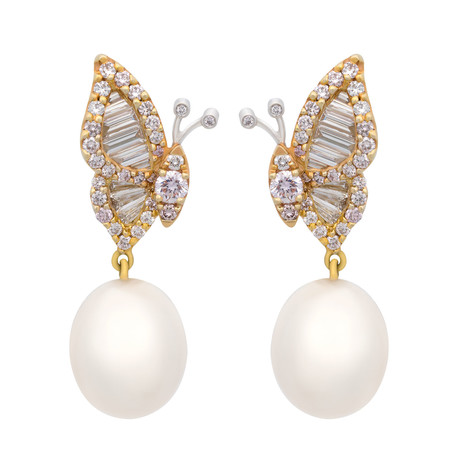 Assael 18k White + Rose Gold Diamond + South Sea Pearl Earrings // Store Display