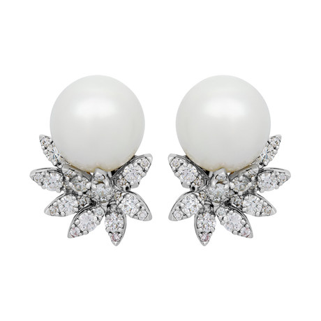 Assael 18k White Gold Diamond + South Sea Pearl Earrings V // Store Display