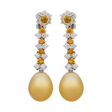 Assael 18k White Yellow Gold Diamond + South Sea Pearl Earrings I // Store Display