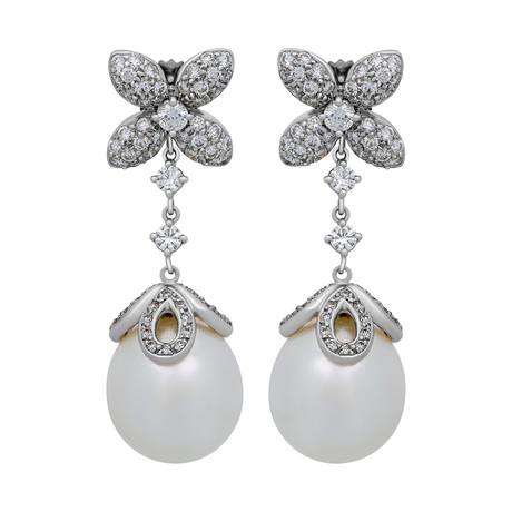 Assael 18k White Gold Diamond + South Sea Pearl Earrings III // Store Display