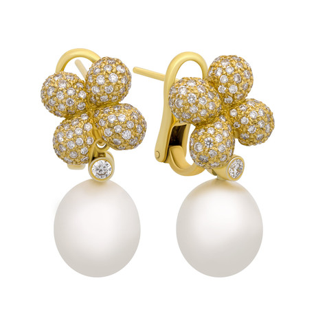 Assael 18k Yellow Gold Diamond + South Sea Pearl Earrings I // Store Display