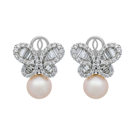 Assael 18k White Gold Diamond + Pearl Earrings IV // Store Display