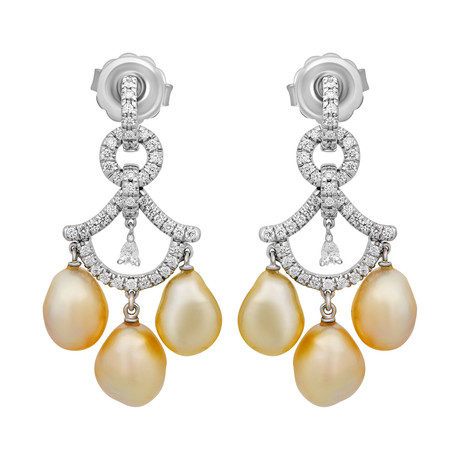 Assael 18k White Gold Diamond + Keshi Pearl Earrings // Store Display