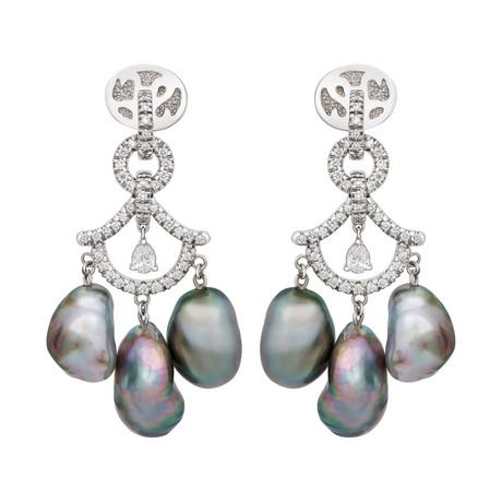 Assael 18k White Gold Diamond + Tahitian Keshi Pearl Earrings // Store Display