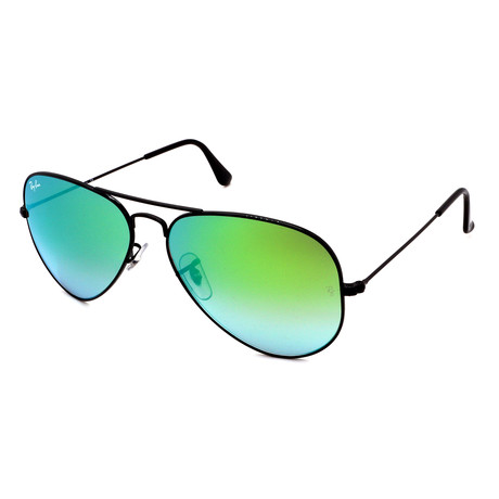 Unisex RB3025-002-4J Aviator Gradient Pilot Sunglasses // Shiny Black + Green Gradient Flash (58MM)