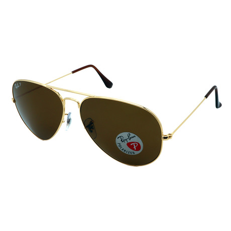 Unisex RB3025-001-57 Aviator Pilot Polarized Sunglasses // Gold + Brown (58MM)