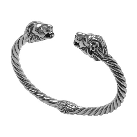 Twisted Cable Hinged Bangle + Lion Endcaps // Sterling Silver