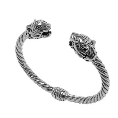 Twisted Cable Hinged Bangle + Panther Endcaps // Sterling Silver