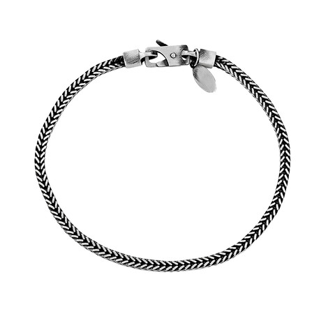 "Sterling Silver Square Tulang Naga Chain Bracelet (8.5"" // 8.84g)"