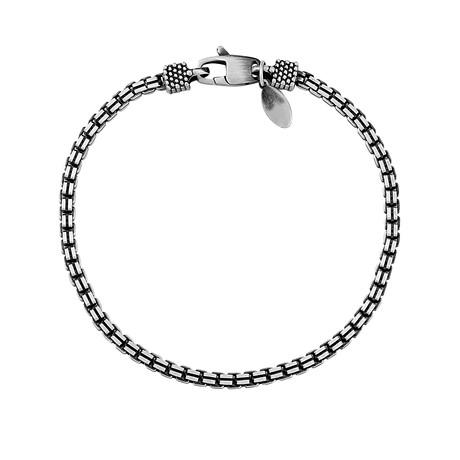 "Sterling Silver Double Box Chain Bracelet // 3mm (8"" // 12.9g)"