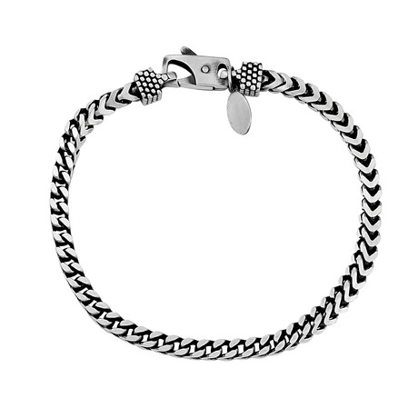 "Sterling Silver Woven Chain Bracelet // 4mm (8"" // 18.89g)"