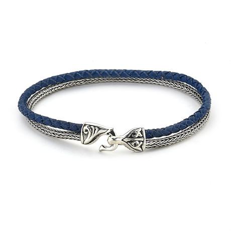 Sterling Silver Tulang Naga + Leather Cord Bracelet