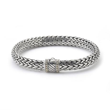 Diagonal Line Bracelet // Sterling Silver