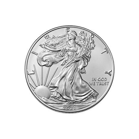 2021 1 oz American Silver Eagle // Mint State Condition // American Premier Series // Wood Presentation Box
