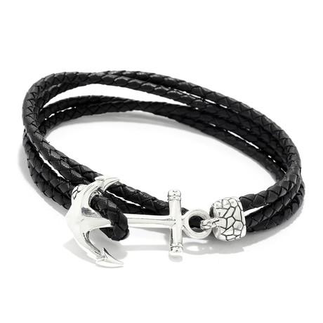 Leather Wrap Around Anchor Bracelet // Black (Small)