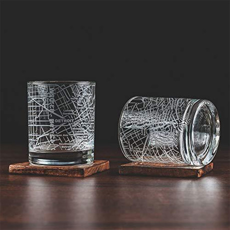 City Grid Etched Whiskey Glasses // Set of 2 // Detroit