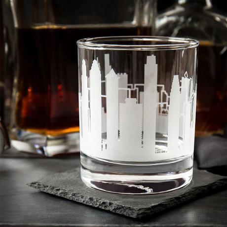 City Skyline Etched Whiskey Glasses // Set of 2 // Philadelphia