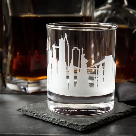 City Skyline Etched Whiskey Glasses // Set of 2 // New York