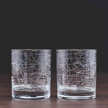City Grid Etched Whiskey Glasses // Set of 2 // Los Angeles