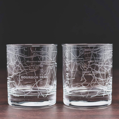 City Grid Etched Whiskey Glasses // Set of 2 // Bourbon Trail