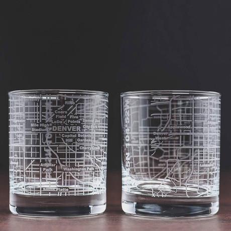 City Grid Etched Whiskey Glasses // Set of 2 // Denver