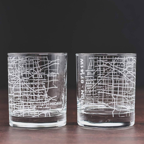 City Grid Etched Whiskey Glasses // Set of 2 // Chicago