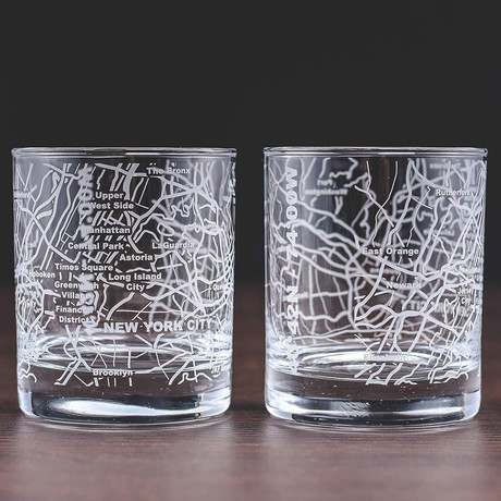 City Grid Etched Whiskey Glasses // Set of 2 // New York