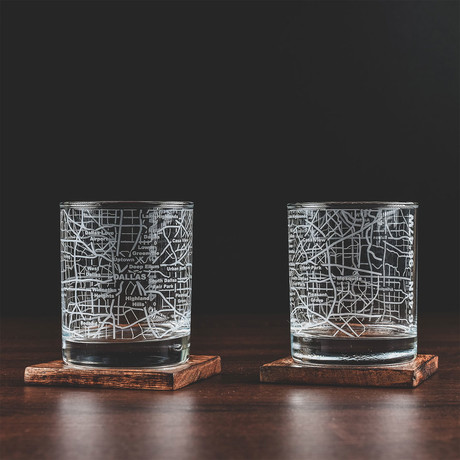 City Grid Etched Whiskey Glasses // Set of 2 // Dallas