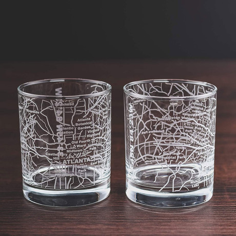 City Grid Etched Whiskey Glasses // Set of 2 // Atlanta