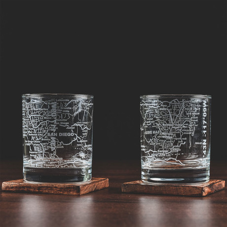 City Grid Etched Whiskey Glasses // Set of 2 // San Diego