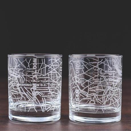 City Grid Etched Whiskey Glasses // Set of 2 // Washington