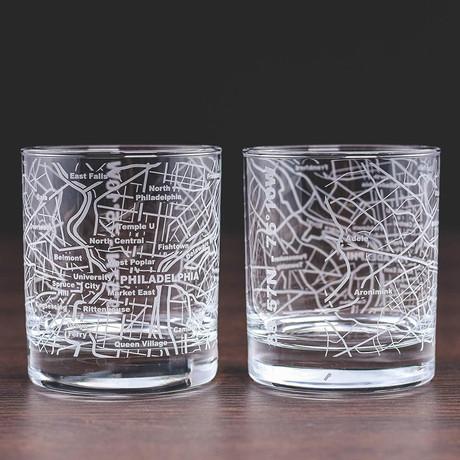 City Grid Etched Whiskey Glasses // Set of 2 // Philadelphia