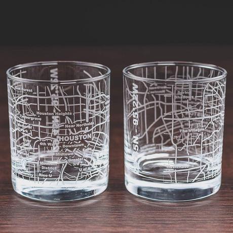 City Grid Etched Whiskey Glasses // Set of 2 // Houston