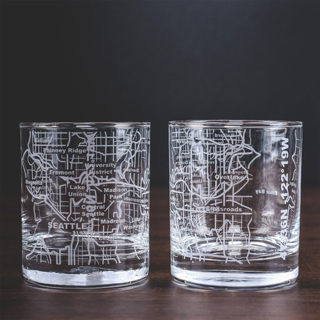City Grid Etched Whiskey Glasses // Set of 2 // Seattle