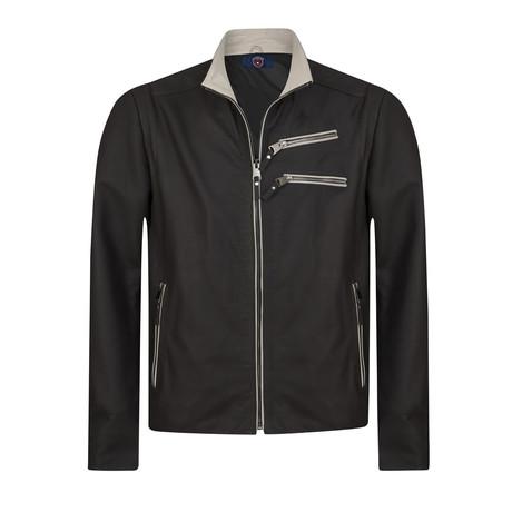 Ramp Leather Jacket // Navy + Beige (S)