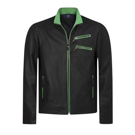 Dewy Leather Jacket // Navy + Green (S)