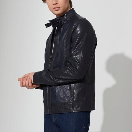 Yosemite Leather Jacket // Navy Blue (S)