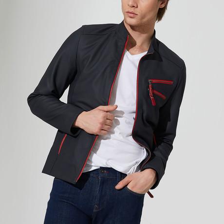 Edremit Leather Jacket // Navy Blue (S)