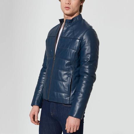 Tahoe Leather Jacket // Dark Blue (S)