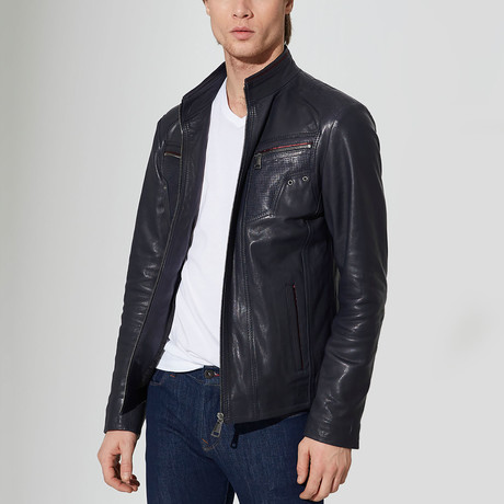 Suluova Leather Jacket // Navy Blue (S)