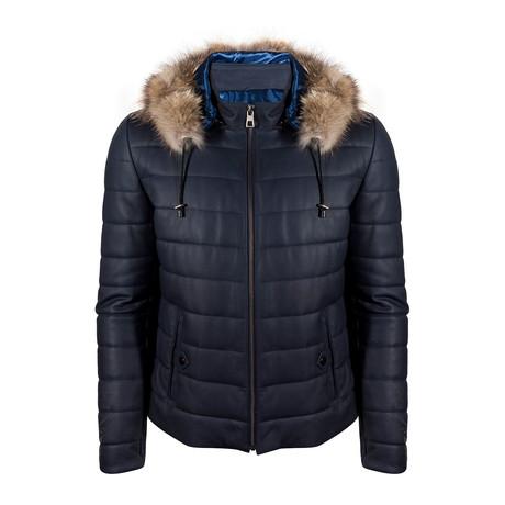 Travis Leather Jacket // Navy Blue Tafta (S)