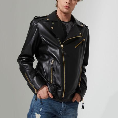 Preston Leather Jacket // Black + Gold (S)