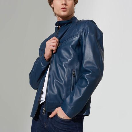 Booker Leather Jacket // Dark Blue (S)