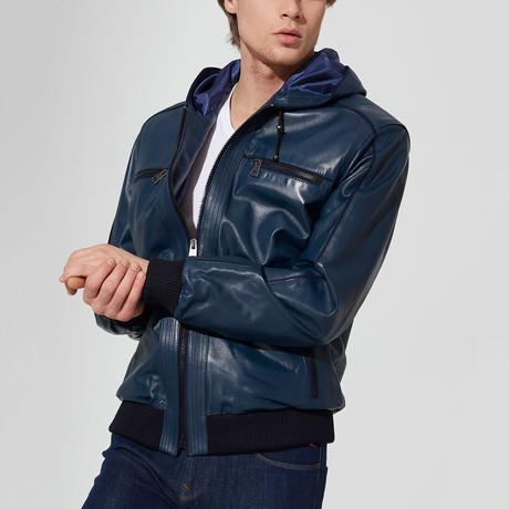 Dilovasi Leather Jacket // Dark Blue (S)