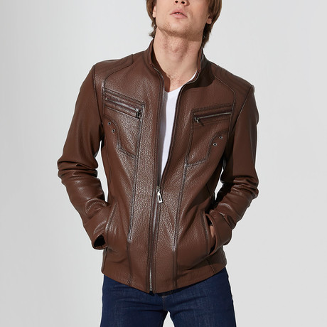 Bucak Leather Jacket // Brown (S)
