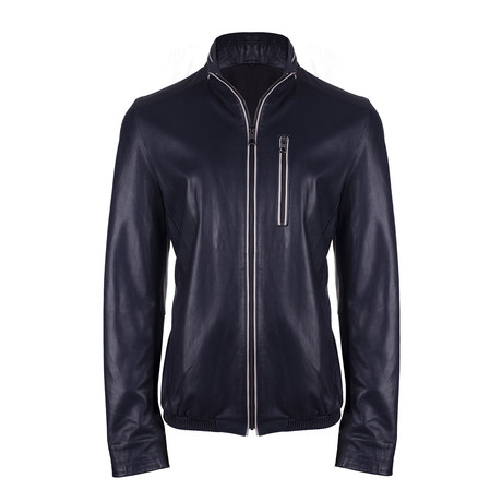 Afsin Leather Jacket // Navy Blue (S)