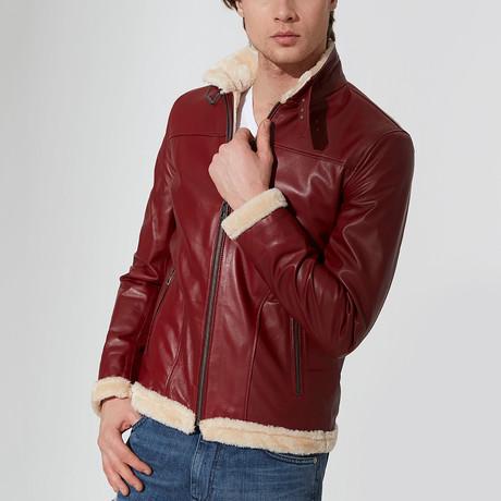 Matt Leather Jacket // Bordeaux (S)