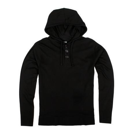 Lightweight 3 Button Hoodie // Black (S)