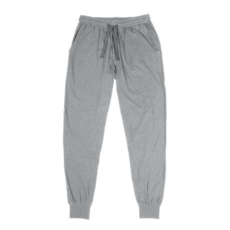 Butter Soft Lightweight Jersey Cuffed Lounge Pant // Melange Light Gray (S)