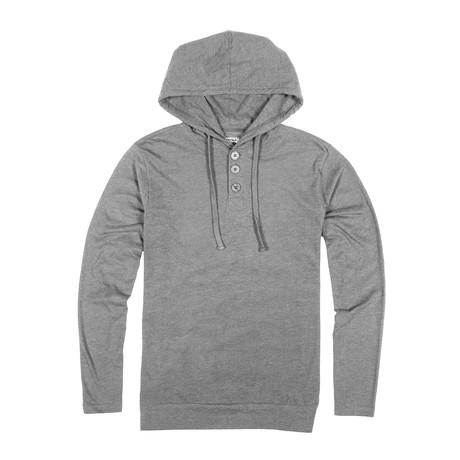 Lightweight 3 Button Hoodie // Light Gray (S)